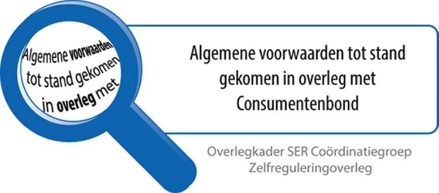 Onze Algemene Voorwaarden zijn tot stand gekomen in samenwerking met de Consumentbond